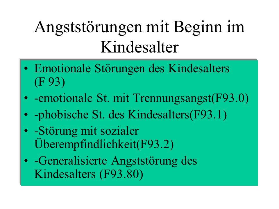 Angststörungen mit Beginn im Kindesalter Emotionale Störungen des Kindesalters (F 93) -emotionale St.