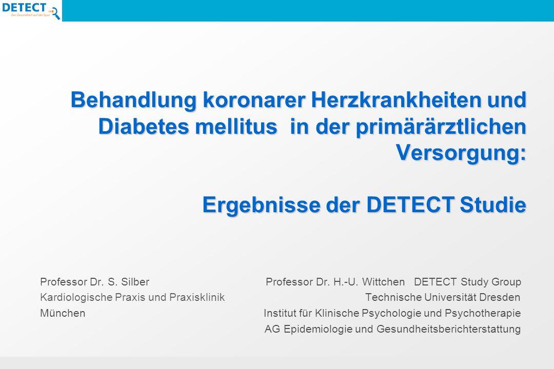 Unbefriedigende Einstellung betrifft fast alle Gruppen 7% keine antidiabetische Therapie Alter (MW/SD): 68,5 +/- 11.1 Diabetesdauer (MW/SD): 5,7 +/- 5,7 Stoffwechseleinstellung HbA1c (MW/SD): 6,1 +/- 0,7 14% ausschließlich nicht-medikamentöse Therapie (Diät und Bewegungstherapie) Alter (MW/SD): 66,1 +/- 10,7 Diabetesdauer (MW/SD): 4,7 +/- 4,7 Stoffwechseleinstellung HbA1c (MW/SD): 6,2 +/- 0,8 48% orale Antidiabetika Alter (MW/SD): 66,5 +/- 10,3 Diabetesdauer (MW/SD): 7,0 +/- 5,9 Stoffwechseleinstellung HbA1c (MW/SD): 6,9 +/- 1,1 20% Insulin (davon 34% intensiviert) Alter (MW/SD): 66,1 +/- 10,0 Diabetesdauer (MW/SD): 11,5 +/- 7,2 Stoffwechseleinstellung HbA1c (MW/SD): 7,5 +/- 1,3 12% Insulin in Kombination mit oralen Antidiabetika Alter (MW/SD): 65,7 +/- 10,6 Diabetesdauer (MW/SD): 12,1 +/- 8,1 Stoffwechseleinstellung HbA1c (MW/SD): 7,3 +/- 1,4 Diabetes mellitus und Herz-Kreislauf-Erkrankungen