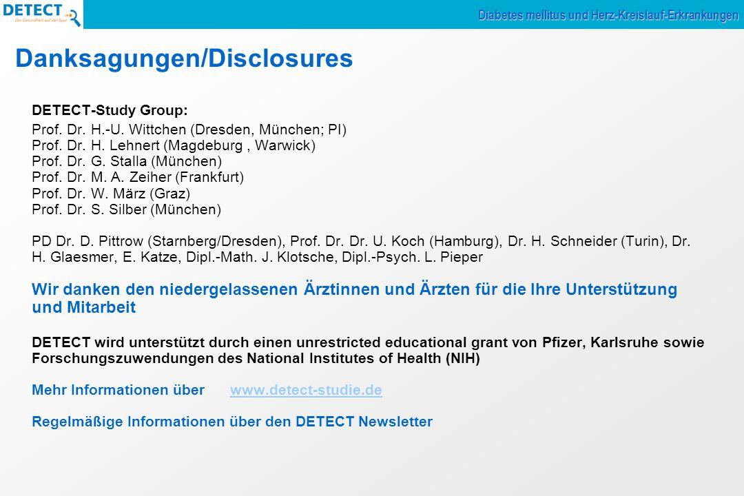 Danksagungen/Disclosures DETECT-Study Group: Prof. Dr. H.-U. Wittchen (Dresden, München; PI) Prof. Dr. H. Lehnert (Magdeburg, Warwick) Prof. Dr. G. St