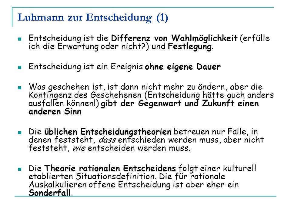 Luhmann zur Entscheidung (1) Entscheidung ist die Differenz von Wahlmöglichkeit (erfülle ich die Erwartung oder nicht?) und Festlegung. Entscheidung i
