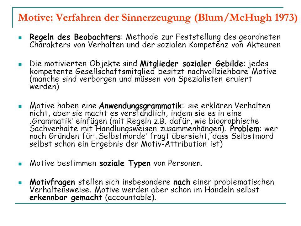 Motive: Verfahren der Sinnerzeugung (Blum/McHugh 1973) Regeln des Beobachters: Methode zur Feststellung des geordneten Charakters von Verhalten und de