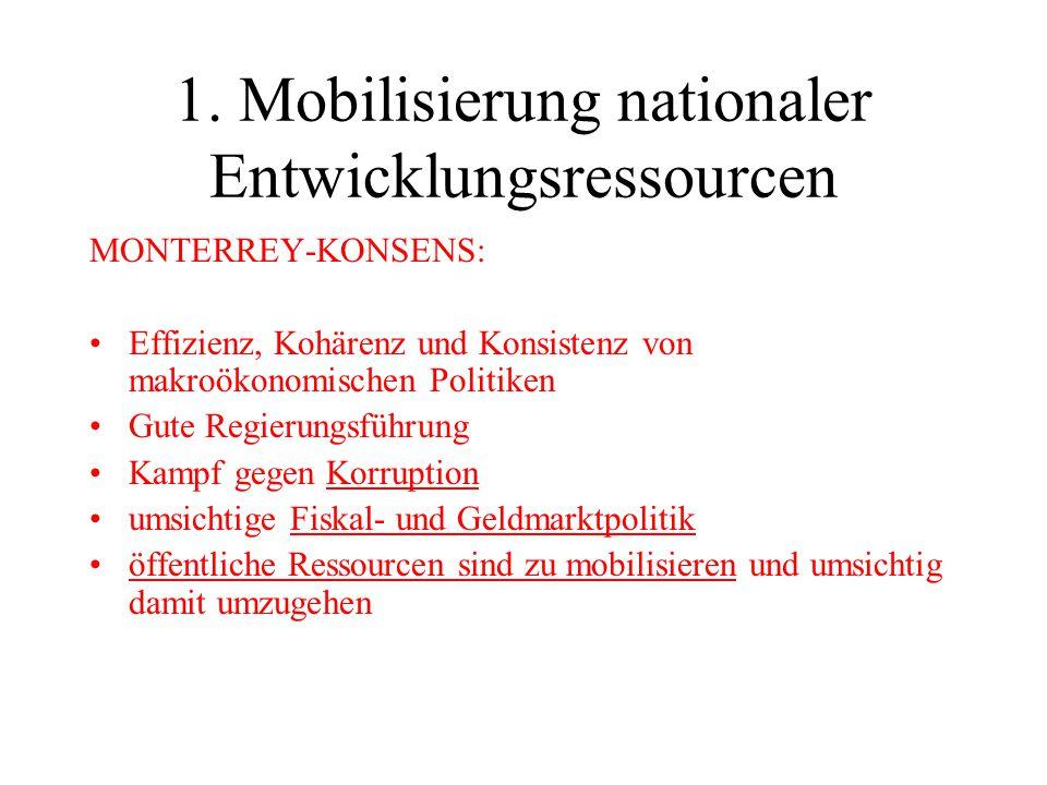 1. Mobilisierung nationaler Entwicklungsressourcen MONTERREY-KONSENS: Effizienz, Kohärenz und Konsistenz von makroökonomischen Politiken Gute Regierun
