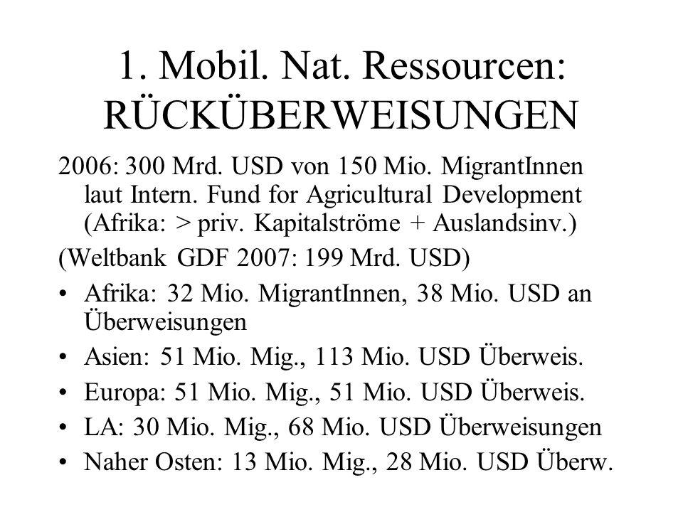 1. Mobil. Nat. Ressourcen: RÜCKÜBERWEISUNGEN 2006: 300 Mrd.