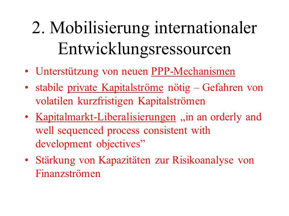 2. Mobilisierung internationaler Entwicklungsressourcen Unterstützung von neuen PPP-Mechanismen stabile private Kapitalströme nötig – Gefahren von vol