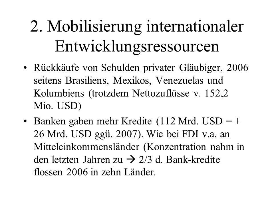 2. Mobilisierung internationaler Entwicklungsressourcen Rückkäufe von Schulden privater Gläubiger, 2006 seitens Brasiliens, Mexikos, Venezuelas und Ko