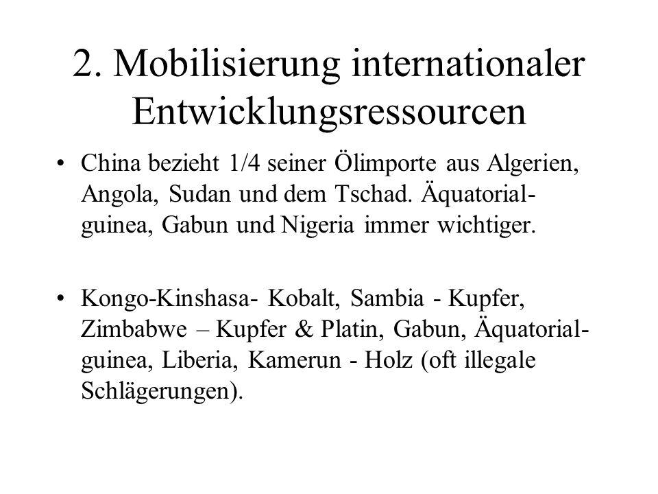 2. Mobilisierung internationaler Entwicklungsressourcen China bezieht 1/4 seiner Ölimporte aus Algerien, Angola, Sudan und dem Tschad. Äquatorial- gui