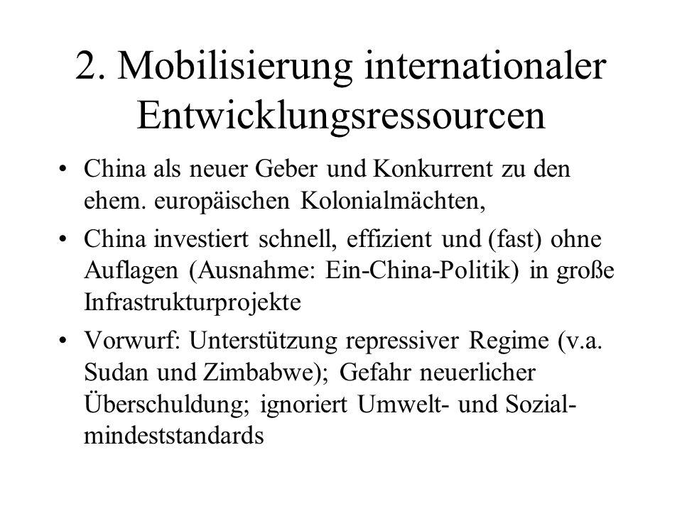 2. Mobilisierung internationaler Entwicklungsressourcen China als neuer Geber und Konkurrent zu den ehem. europäischen Kolonialmächten, China investie