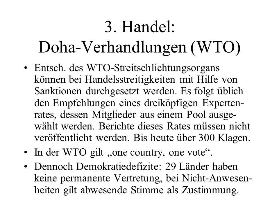 3. Handel: Doha-Verhandlungen (WTO) Entsch.