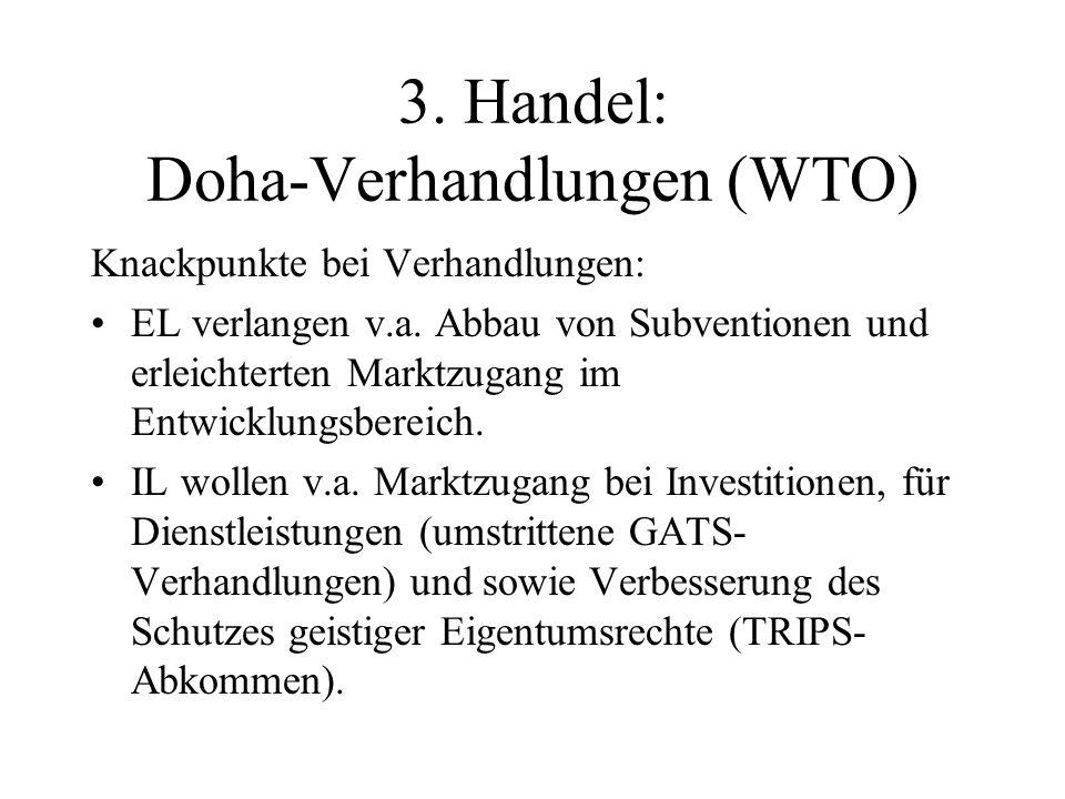 3. Handel: Doha-Verhandlungen (WTO) Knackpunkte bei Verhandlungen: EL verlangen v.a.