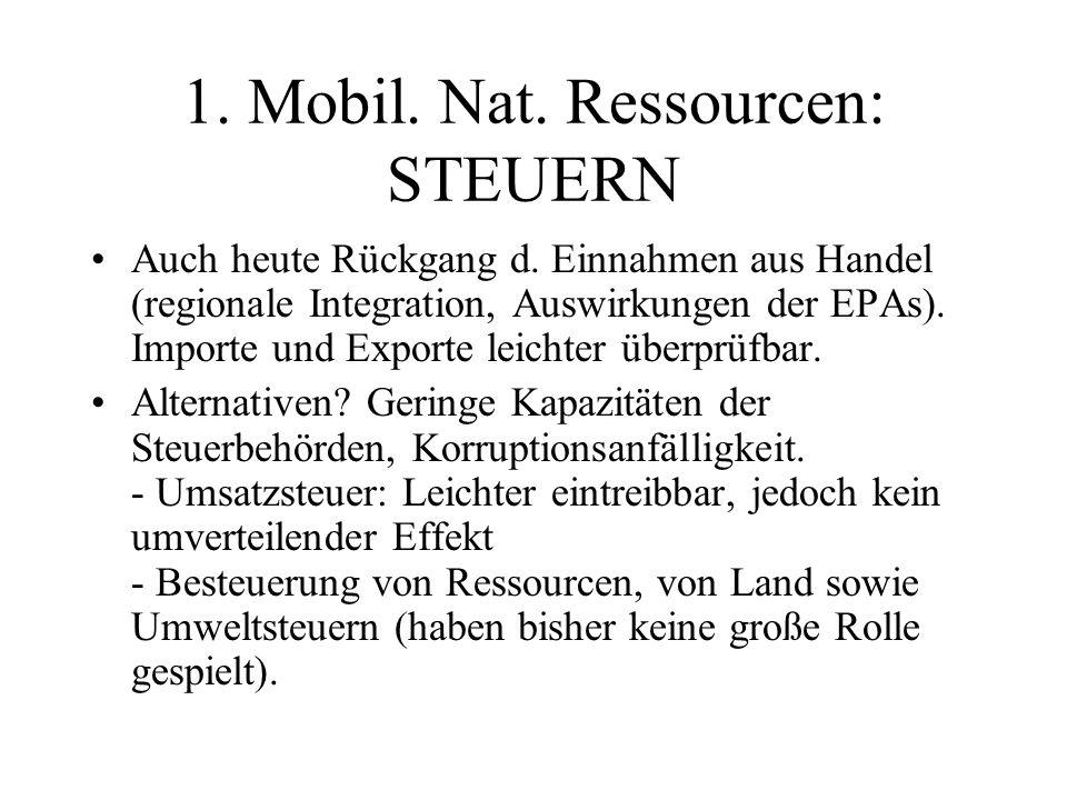 1. Mobil. Nat. Ressourcen: STEUERN Auch heute Rückgang d.