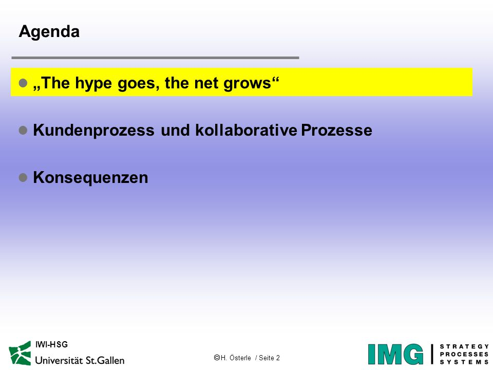 " H. Österle / Seite 2 IWI-HSG Agenda l ""The hype goes, the net grows"" l Kundenprozess und kollaborative Prozesse l Konsequenzen"