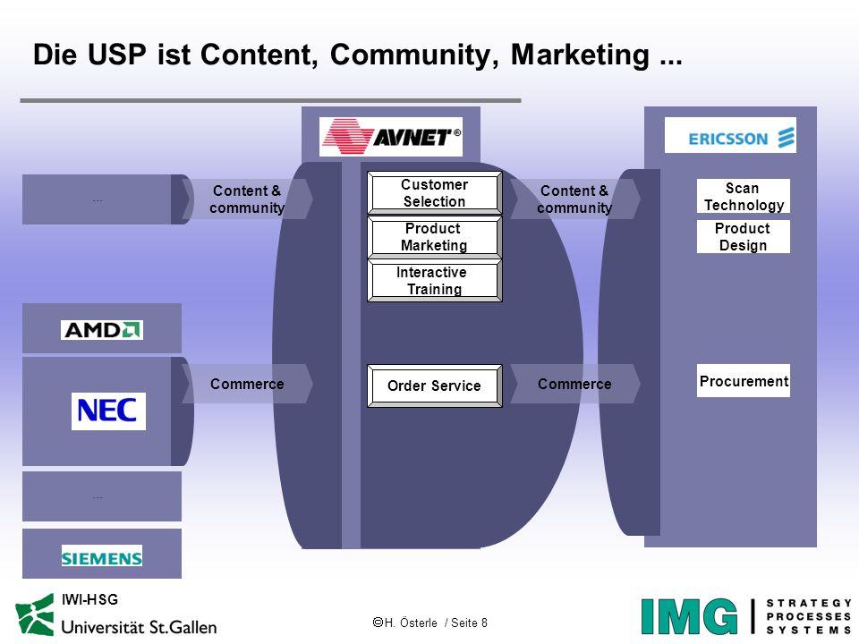  H. Österle / Seite 8 IWI-HSG Die USP ist Content, Community, Marketing...