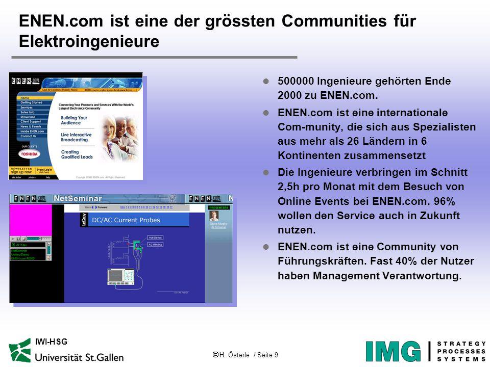  H. Österle / Seite 9 IWI-HSG ENEN.com ist eine der grössten Communities für Elektroingenieure l 500000 Ingenieure gehörten Ende 2000 zu ENEN.com. l