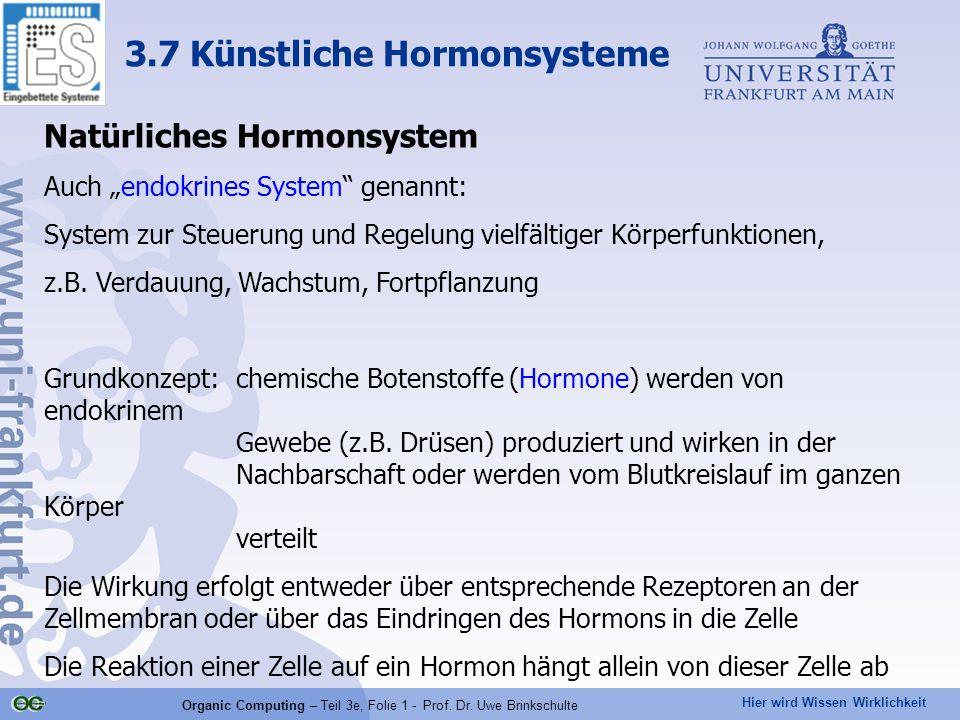 """Hier wird Wissen Wirklichkeit Organic Computing – Teil 3e, Folie 1 - Prof. Dr. Uwe Brinkschulte Natürliches Hormonsystem Auch """"endokrines System"""" gena"""