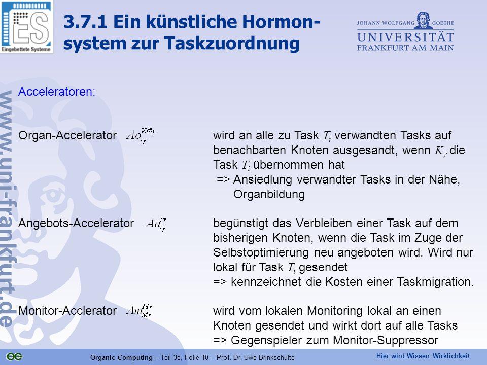 Hier wird Wissen Wirklichkeit Organic Computing – Teil 3e, Folie 10 - Prof. Dr. Uwe Brinkschulte Acceleratoren: Organ-Accelerator wird an alle zu Task