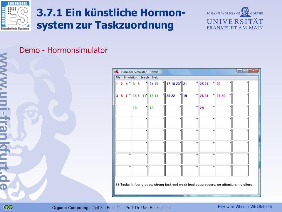 Hier wird Wissen Wirklichkeit Organic Computing – Teil 3e, Folie 11 - Prof. Dr. Uwe Brinkschulte Demo - Hormonsimulator 3.7.1 Ein künstliche Hormon- s