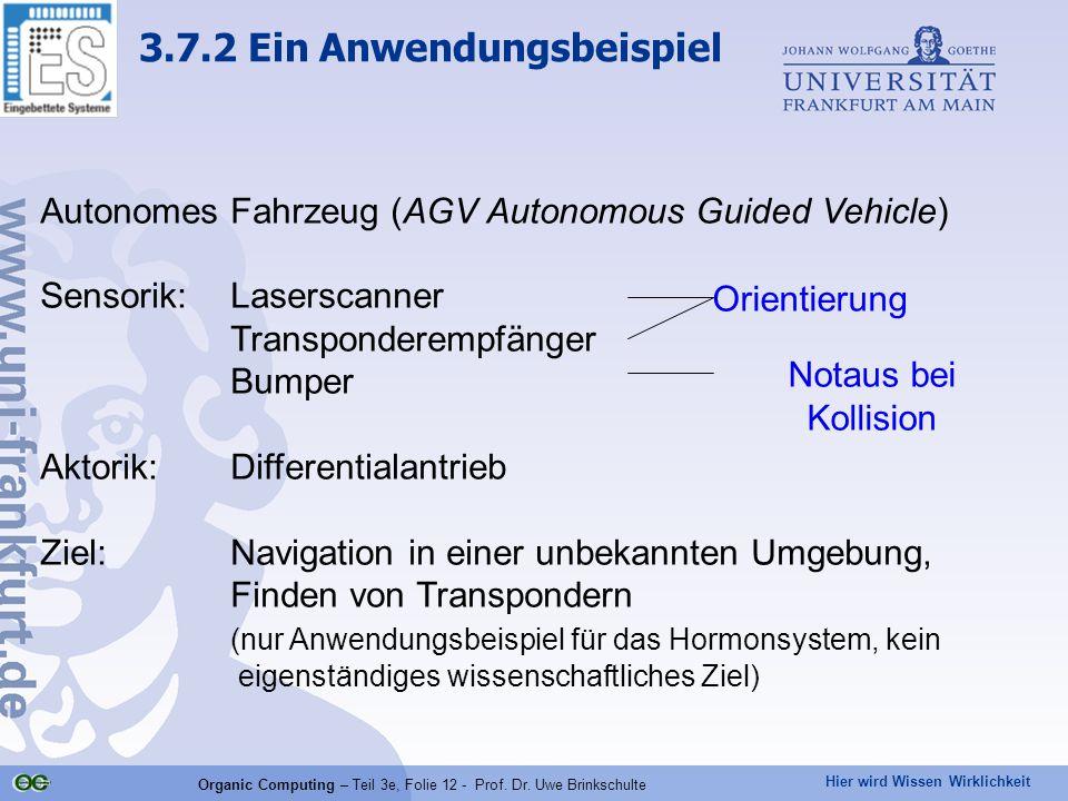 Hier wird Wissen Wirklichkeit Organic Computing – Teil 3e, Folie 12 - Prof. Dr. Uwe Brinkschulte Autonomes Fahrzeug (AGV Autonomous Guided Vehicle) Se