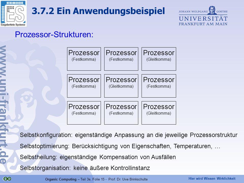 Hier wird Wissen Wirklichkeit Organic Computing – Teil 3e, Folie 15 - Prof. Dr. Uwe Brinkschulte Prozessor-Strukturen: Prozessor (Festkomma) Prozessor