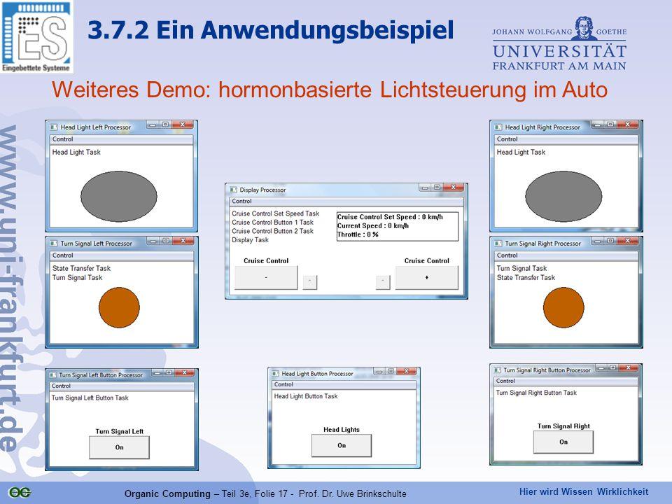 Hier wird Wissen Wirklichkeit Organic Computing – Teil 3e, Folie 17 - Prof. Dr. Uwe Brinkschulte Weiteres Demo: hormonbasierte Lichtsteuerung im Auto