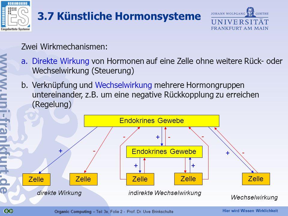 Hier wird Wissen Wirklichkeit Organic Computing – Teil 3e, Folie 2 - Prof. Dr. Uwe Brinkschulte Zwei Wirkmechanismen: a.Direkte Wirkung von Hormonen a