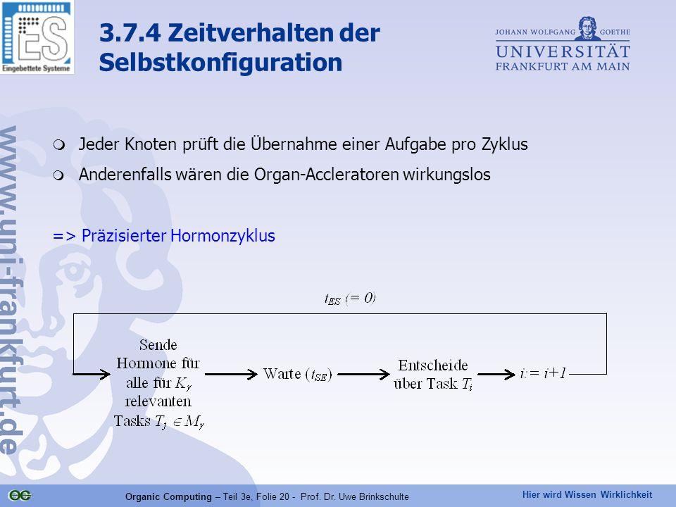 Hier wird Wissen Wirklichkeit Organic Computing – Teil 3e, Folie 20 - Prof. Dr. Uwe Brinkschulte  Jeder Knoten prüft die Übernahme einer Aufgabe pro