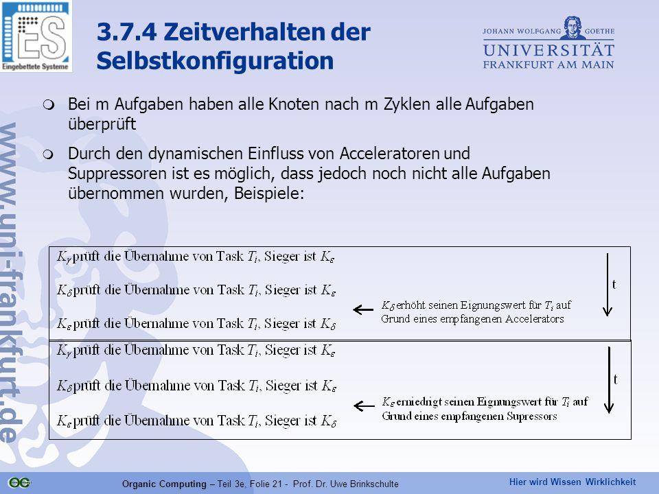 Hier wird Wissen Wirklichkeit Organic Computing – Teil 3e, Folie 21 - Prof. Dr. Uwe Brinkschulte  Bei m Aufgaben haben alle Knoten nach m Zyklen alle