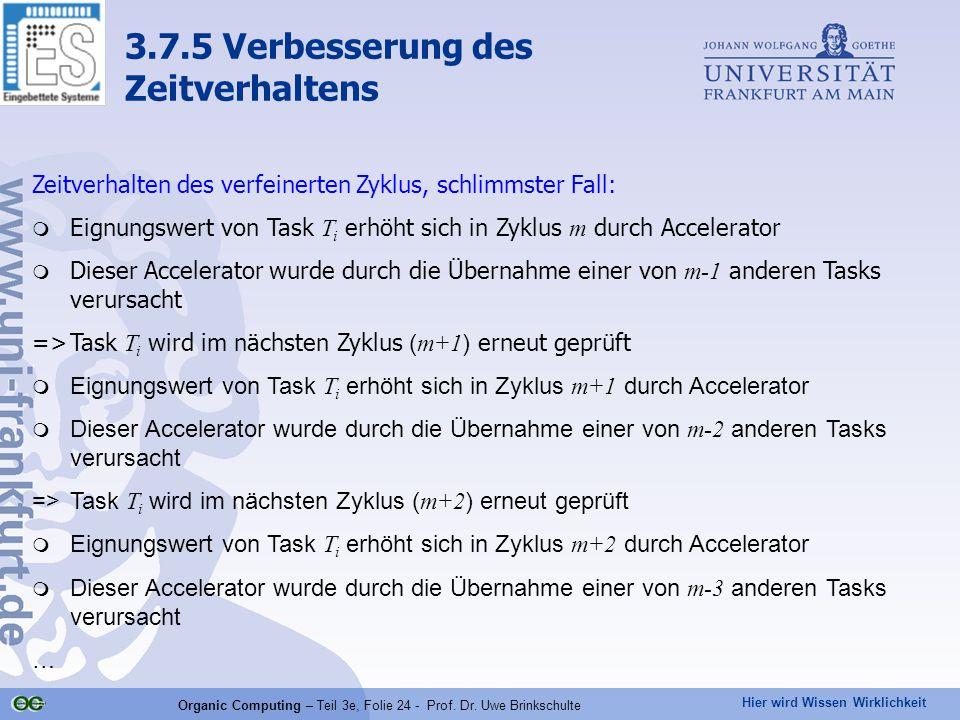 Hier wird Wissen Wirklichkeit Organic Computing – Teil 3e, Folie 24 - Prof. Dr. Uwe Brinkschulte Zeitverhalten des verfeinerten Zyklus, schlimmster Fa