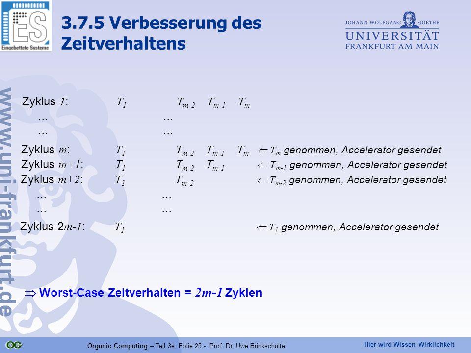 Hier wird Wissen Wirklichkeit Organic Computing – Teil 3e, Folie 25 - Prof. Dr. Uwe Brinkschulte Zyklus 1 : T 1 T m-2 T m-1 T m...... Zyklus m : T 1 T