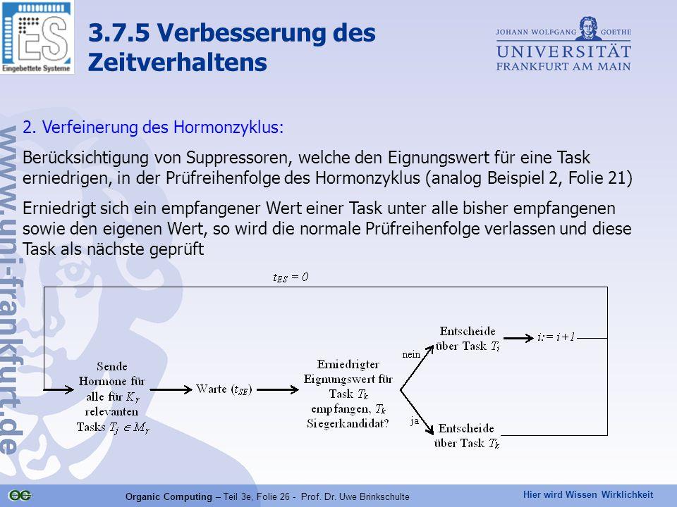 Hier wird Wissen Wirklichkeit Organic Computing – Teil 3e, Folie 26 - Prof. Dr. Uwe Brinkschulte 2. Verfeinerung des Hormonzyklus: Berücksichtigung vo