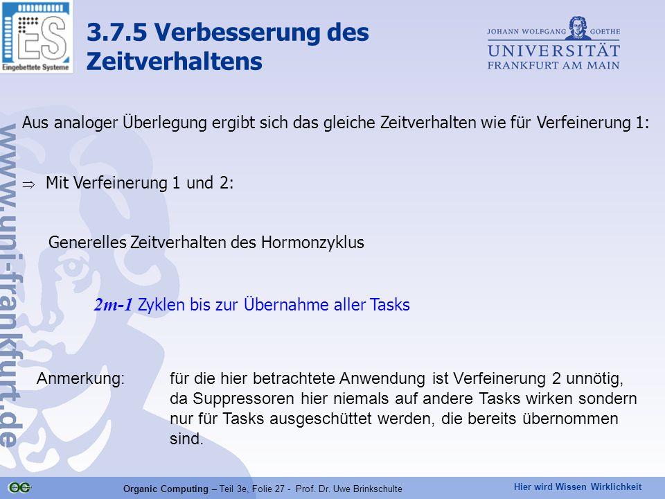 Hier wird Wissen Wirklichkeit Organic Computing – Teil 3e, Folie 27 - Prof. Dr. Uwe Brinkschulte Aus analoger Überlegung ergibt sich das gleiche Zeitv