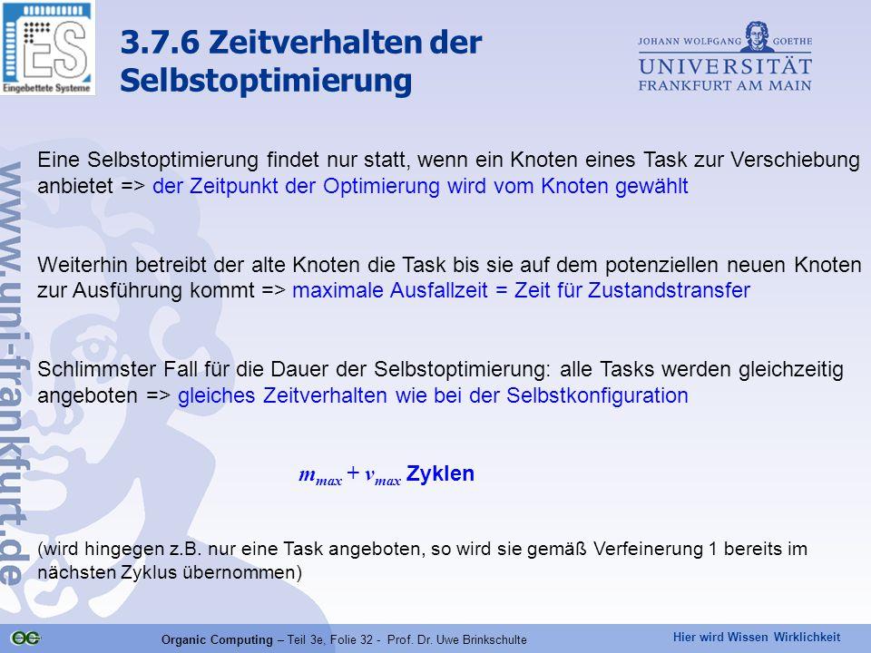 Hier wird Wissen Wirklichkeit Organic Computing – Teil 3e, Folie 32 - Prof. Dr. Uwe Brinkschulte Eine Selbstoptimierung findet nur statt, wenn ein Kno