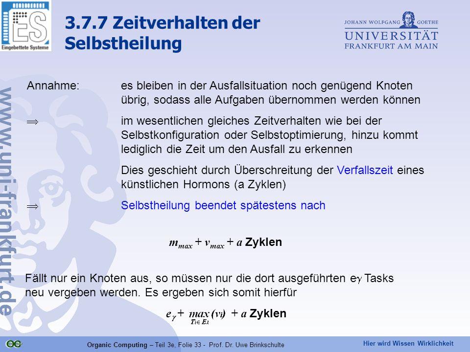 Hier wird Wissen Wirklichkeit Organic Computing – Teil 3e, Folie 33 - Prof. Dr. Uwe Brinkschulte Annahme:es bleiben in der Ausfallsituation noch genüg
