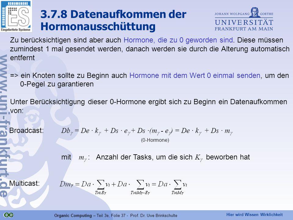 Hier wird Wissen Wirklichkeit Organic Computing – Teil 3e, Folie 37 - Prof. Dr. Uwe Brinkschulte Broadcast: Db  = De · k  + Ds · e  + Ds ·(m  - e