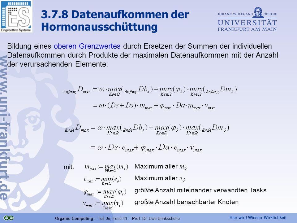 Hier wird Wissen Wirklichkeit Organic Computing – Teil 3e, Folie 41 - Prof. Dr. Uwe Brinkschulte Bildung eines oberen Grenzwertes durch Ersetzen der S