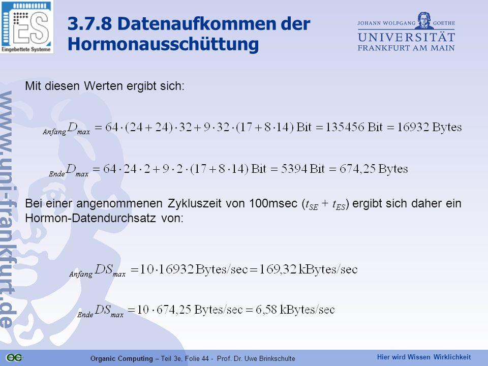 Hier wird Wissen Wirklichkeit Organic Computing – Teil 3e, Folie 44 - Prof. Dr. Uwe Brinkschulte Mit diesen Werten ergibt sich: Bei einer angenommenen