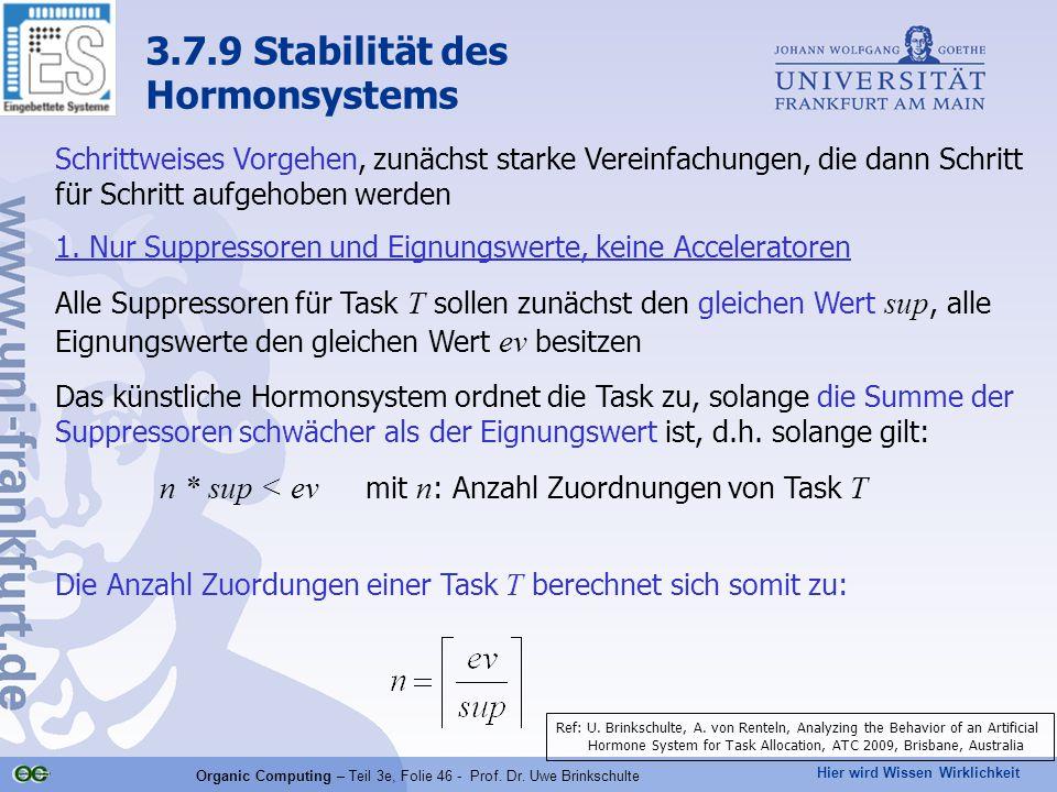 Hier wird Wissen Wirklichkeit Organic Computing – Teil 3e, Folie 46 - Prof. Dr. Uwe Brinkschulte Schrittweises Vorgehen, zunächst starke Vereinfachung