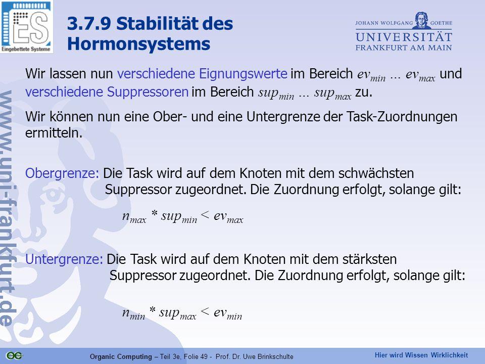 Hier wird Wissen Wirklichkeit Organic Computing – Teil 3e, Folie 49 - Prof. Dr. Uwe Brinkschulte Wir lassen nun verschiedene Eignungswerte im Bereich