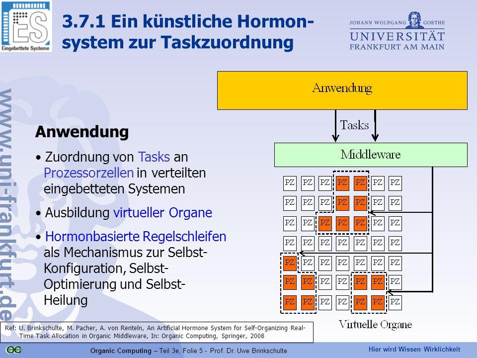 Hier wird Wissen Wirklichkeit Organic Computing – Teil 3e, Folie 5 - Prof. Dr. Uwe Brinkschulte Anwendung Zuordnung von Tasks an Prozessorzellen in ve