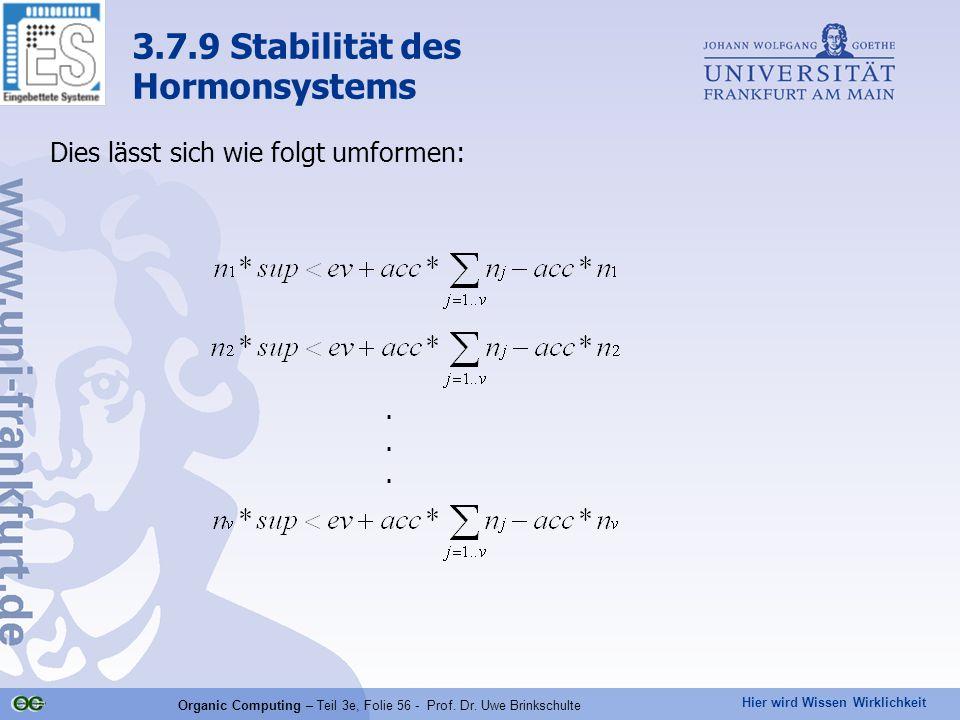 Hier wird Wissen Wirklichkeit Organic Computing – Teil 3e, Folie 56 - Prof. Dr. Uwe Brinkschulte Dies lässt sich wie folgt umformen: 3.7.9 Stabilität