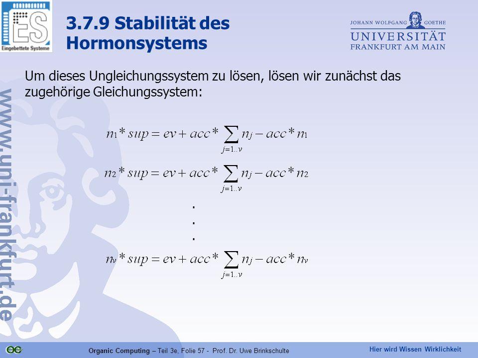 Hier wird Wissen Wirklichkeit Organic Computing – Teil 3e, Folie 57 - Prof. Dr. Uwe Brinkschulte Um dieses Ungleichungssystem zu lösen, lösen wir zunä