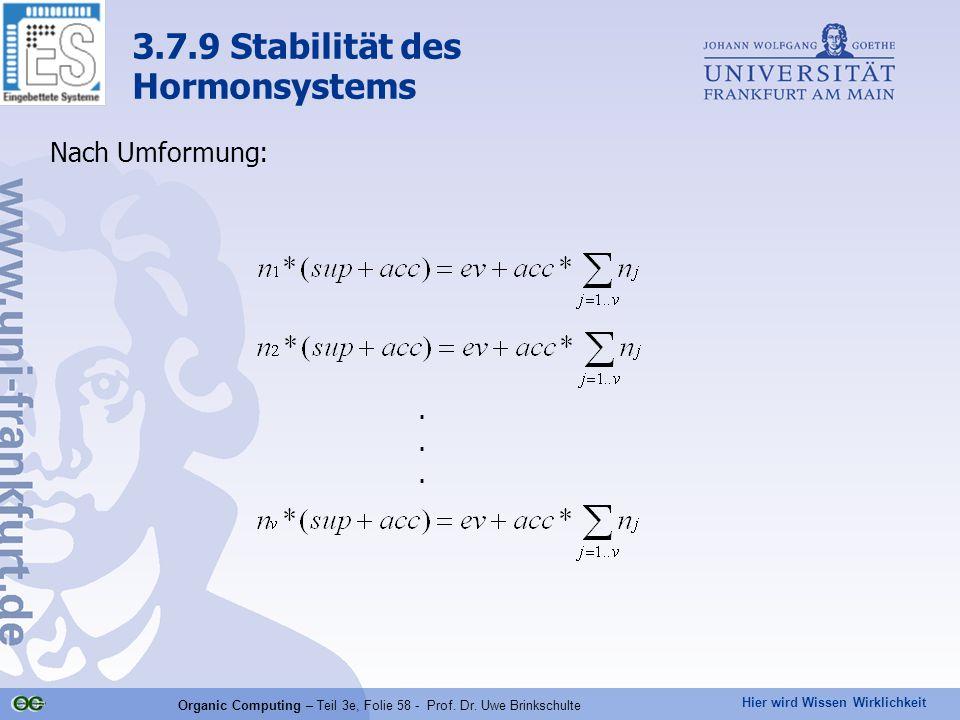 Hier wird Wissen Wirklichkeit Organic Computing – Teil 3e, Folie 58 - Prof. Dr. Uwe Brinkschulte Nach Umformung: 3.7.9 Stabilität des Hormonsystems...
