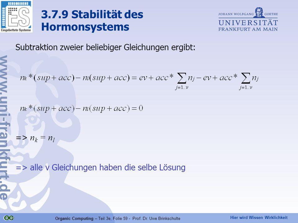 Hier wird Wissen Wirklichkeit Organic Computing – Teil 3e, Folie 59 - Prof. Dr. Uwe Brinkschulte Subtraktion zweier beliebiger Gleichungen ergibt: =>