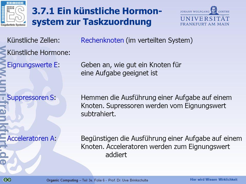 Hier wird Wissen Wirklichkeit Organic Computing – Teil 3e, Folie 6 - Prof. Dr. Uwe Brinkschulte Künstliche Zellen: Rechenknoten (im verteilten System)