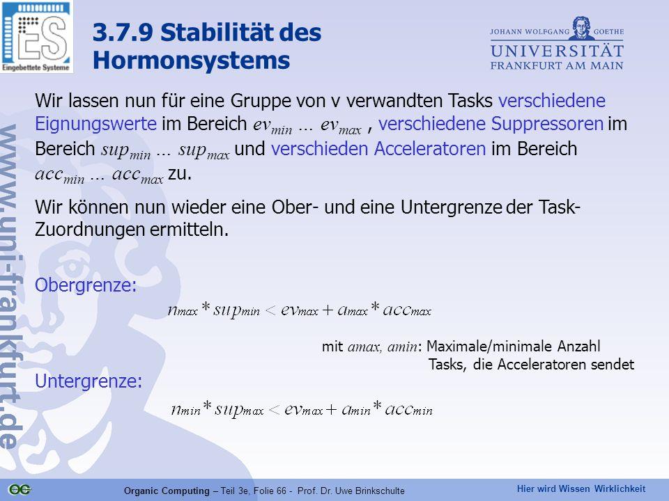 Hier wird Wissen Wirklichkeit Organic Computing – Teil 3e, Folie 66 - Prof. Dr. Uwe Brinkschulte Wir lassen nun für eine Gruppe von v verwandten Tasks