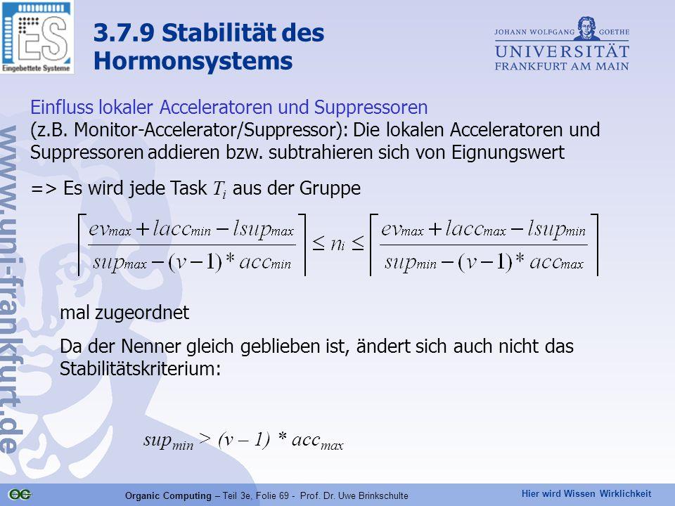 Hier wird Wissen Wirklichkeit Organic Computing – Teil 3e, Folie 69 - Prof. Dr. Uwe Brinkschulte Einfluss lokaler Acceleratoren und Suppressoren (z.B.