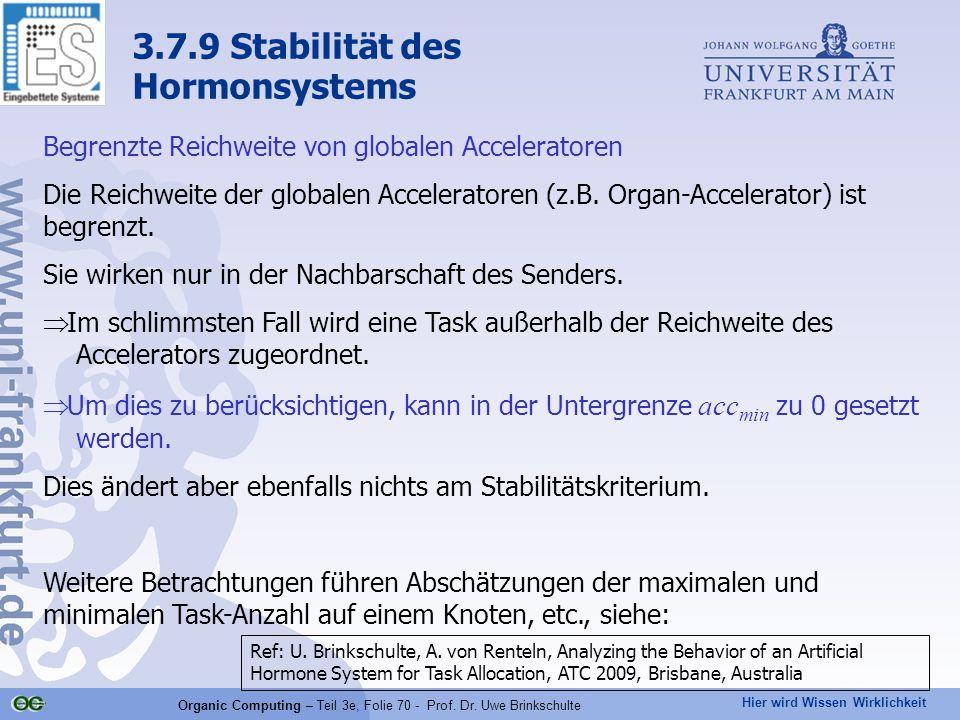 Hier wird Wissen Wirklichkeit Organic Computing – Teil 3e, Folie 70 - Prof. Dr. Uwe Brinkschulte Begrenzte Reichweite von globalen Acceleratoren Die R