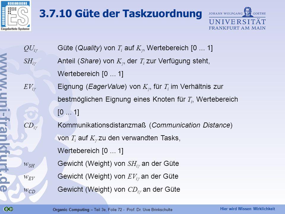Hier wird Wissen Wirklichkeit Organic Computing – Teil 3e, Folie 72 - Prof. Dr. Uwe Brinkschulte QU i  Güte (Quality) von T i auf K , Wertebereich [