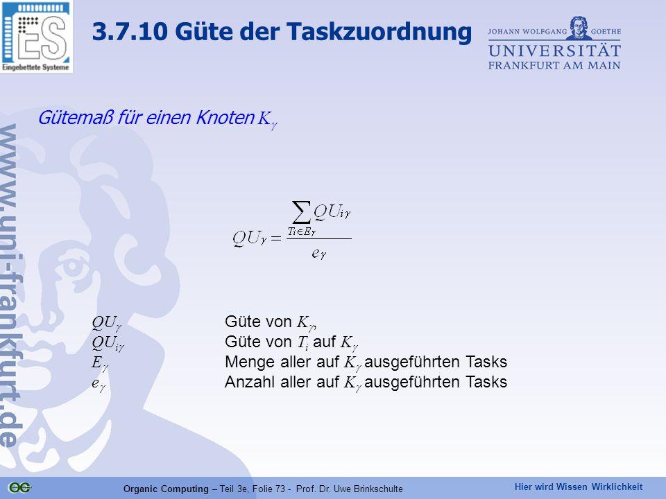 Hier wird Wissen Wirklichkeit Organic Computing – Teil 3e, Folie 73 - Prof. Dr. Uwe Brinkschulte Gütemaß für einen Knoten K  QU  Güte von K , QU i