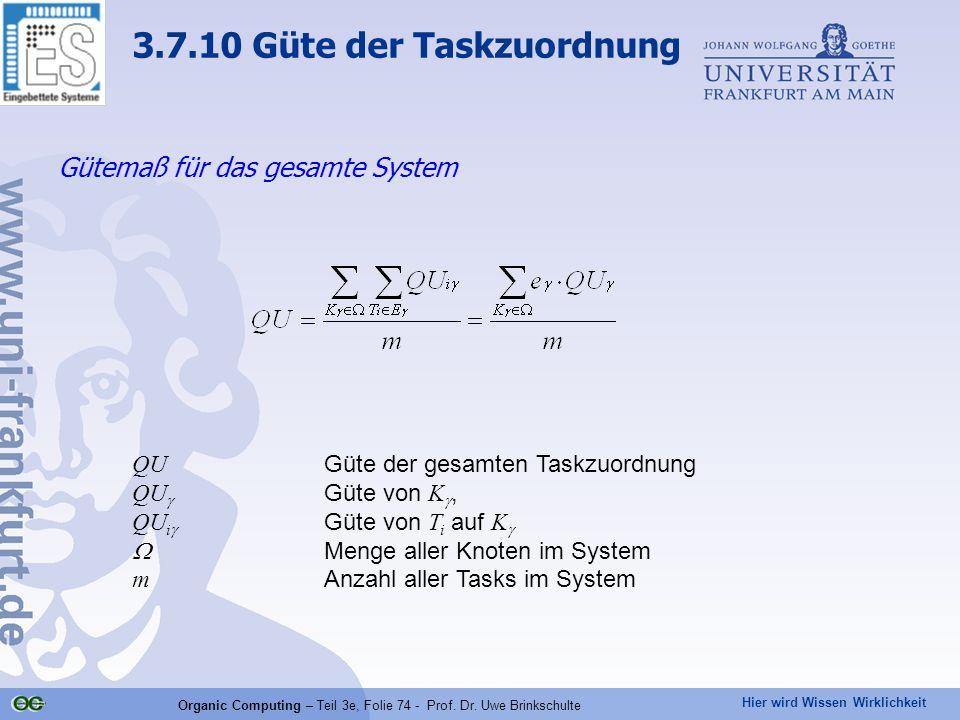 Hier wird Wissen Wirklichkeit Organic Computing – Teil 3e, Folie 74 - Prof. Dr. Uwe Brinkschulte Gütemaß für das gesamte System QU Güte der gesamten T