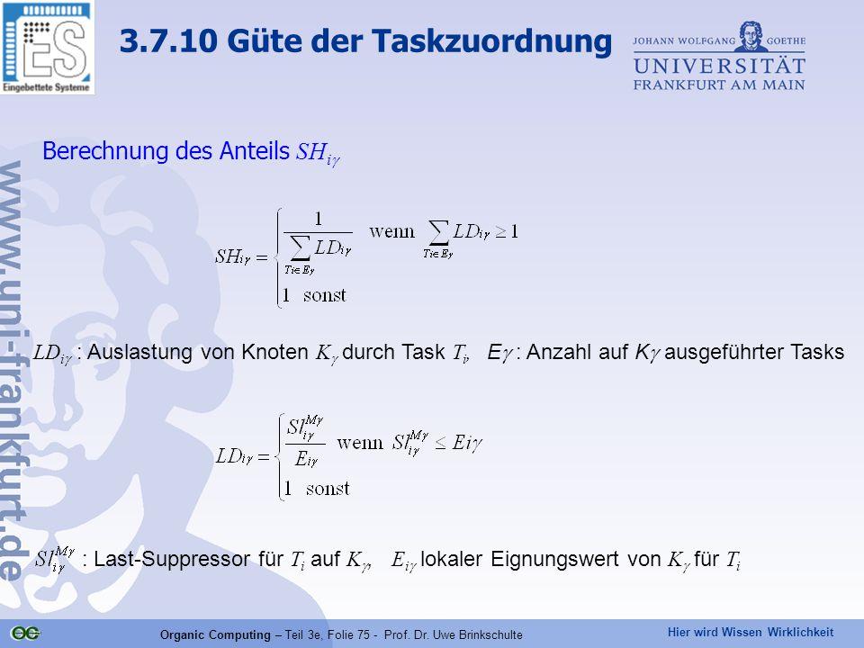 Hier wird Wissen Wirklichkeit Organic Computing – Teil 3e, Folie 75 - Prof. Dr. Uwe Brinkschulte Berechnung des Anteils SH i  LD i  : Auslastung von